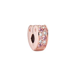 Clip a cuore con pavé rosa